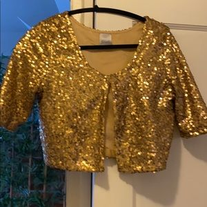 Gold sequin crop jacket
